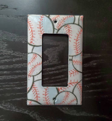 Fancy Handmade Light Switch Cover - Baseball