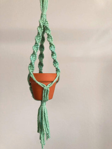 Mini macrame plant hanger car decoration hand dyed sea green- other colours available