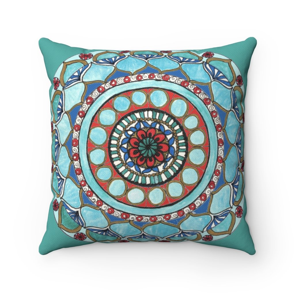 Akruti Artz Emerald Mandala Square Pillow