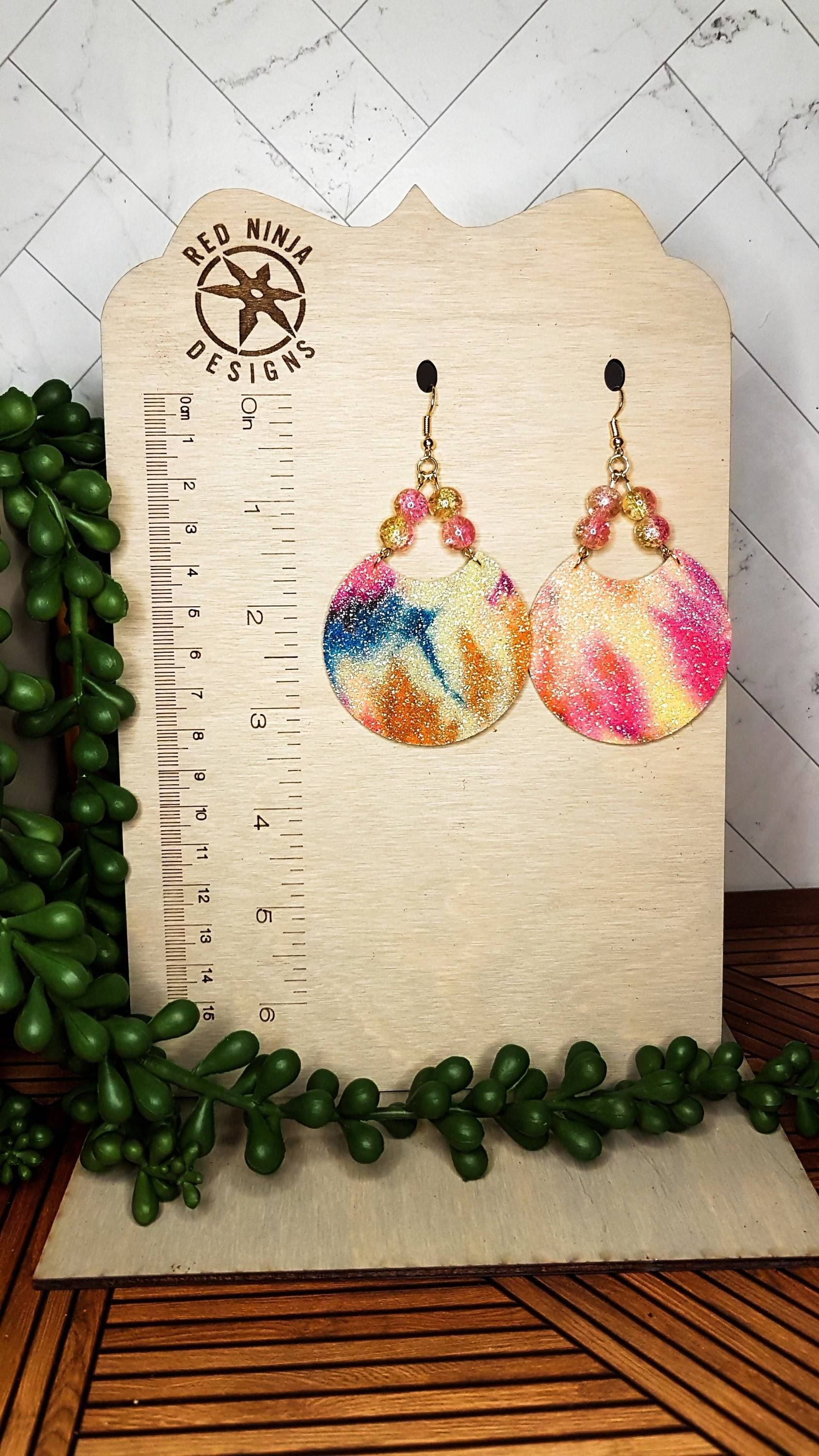 Round Leather Earrings, Circle Leather Earrings, Leather Dangles, Genuine Leather Disc Earrings, Real Leather Earrings, Neon Tie Die