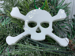 Fused Glass Skull and Crossbones Halloween Ornament