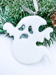 Fused Glass Ghost Ornament for Halloween