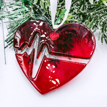 Fused Glass Heart with Beat Ornament