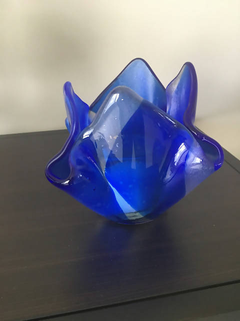 Blue Fused Glass Votive Candle Holder