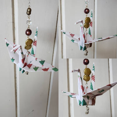 Paper Crane Chain/Christmas Trees and a Stocking