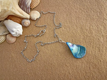 """Positivity, Prosperity & Insight"" Aqua Teardrop Shell Necklace"