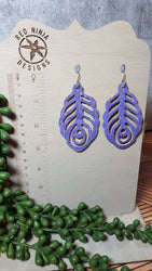 Genuine Leather Earring, Peacock Feather
