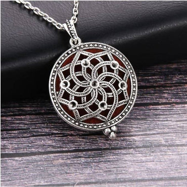 Dream Catcher Aromatherapy Perfume Essential Oils Diffuser Necklace Locket Necklace Pendant (**+2ml De-Stress Essential Oil Blend)