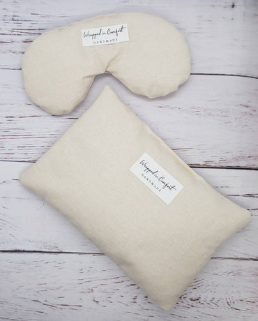 Heating Pad and Eye Pillow Bundle, Organic Cotton, Rice or Flaxseed