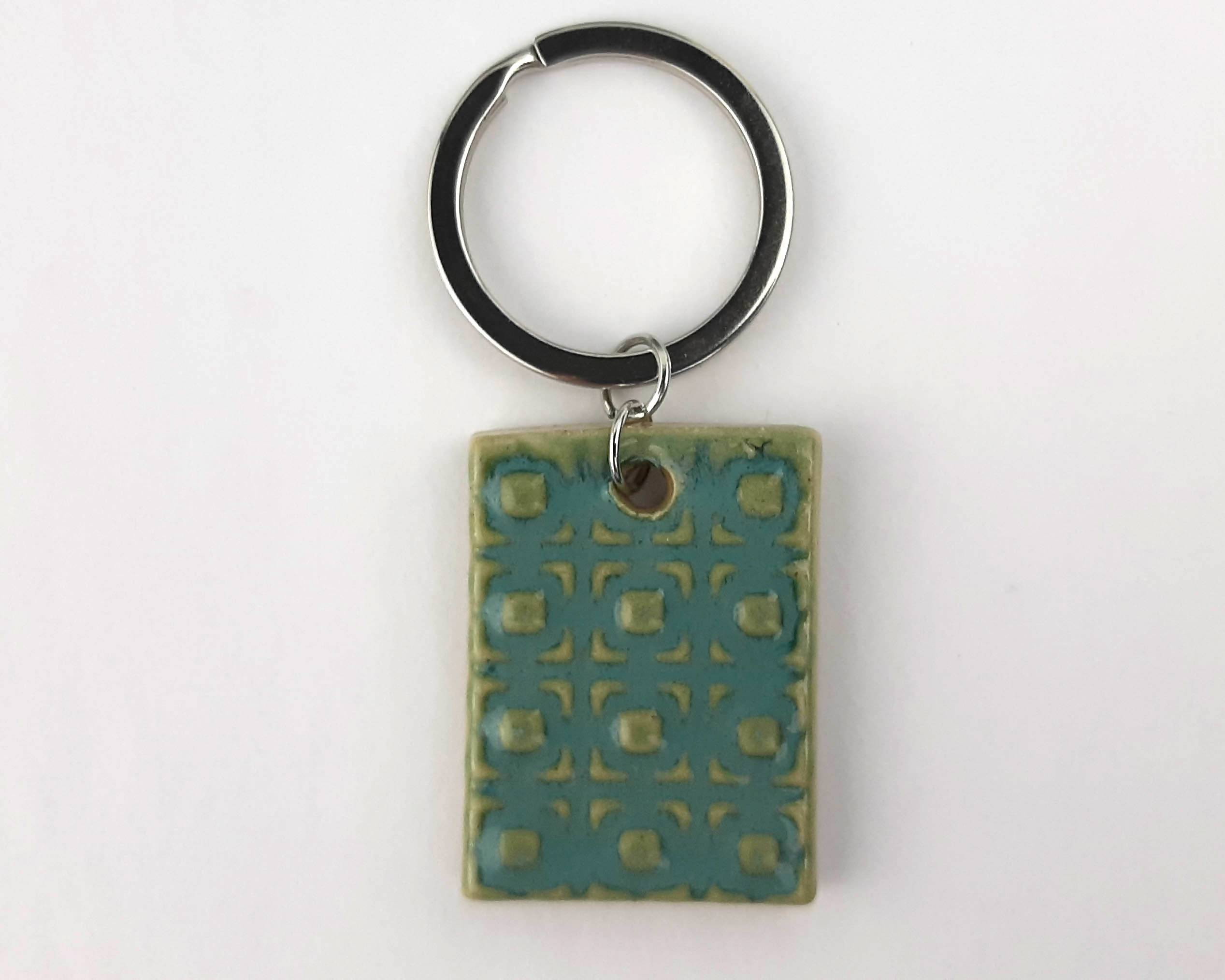 Blue Patterned Keychain