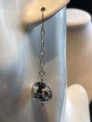Black and Silver Foil Murano Glass Earrings