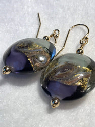 Authentic Murano Earrings, Purple and 24kt Gold Foil, lentil style