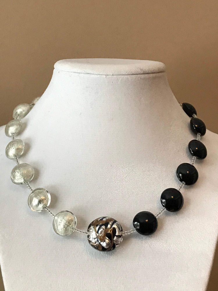 Murano Necklace, Black, Silver, Authentic, Reversible, 18in long, lobster claw clasp, Modern look, gift for her, focal Murano bead