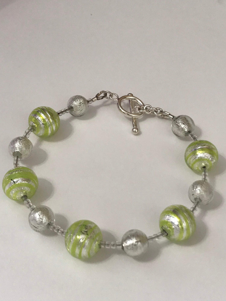 Murano Glass Bracelet, Venetian Beads, Silver foil, sterling silver, peridot(green) toggle clasp, Gift for her, summer, spring, vacation !