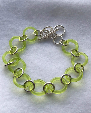 Murano Glass Bracelet, Peridot (Green), sterling silver, toggle clasp, original, summer, spring, gift for her, vacation, rondels, easter !