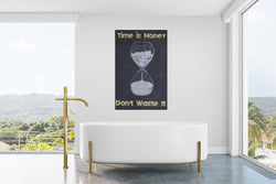 Success & Motivational canvas print, canvas wall art,  wall decor, Time is money, hourglass