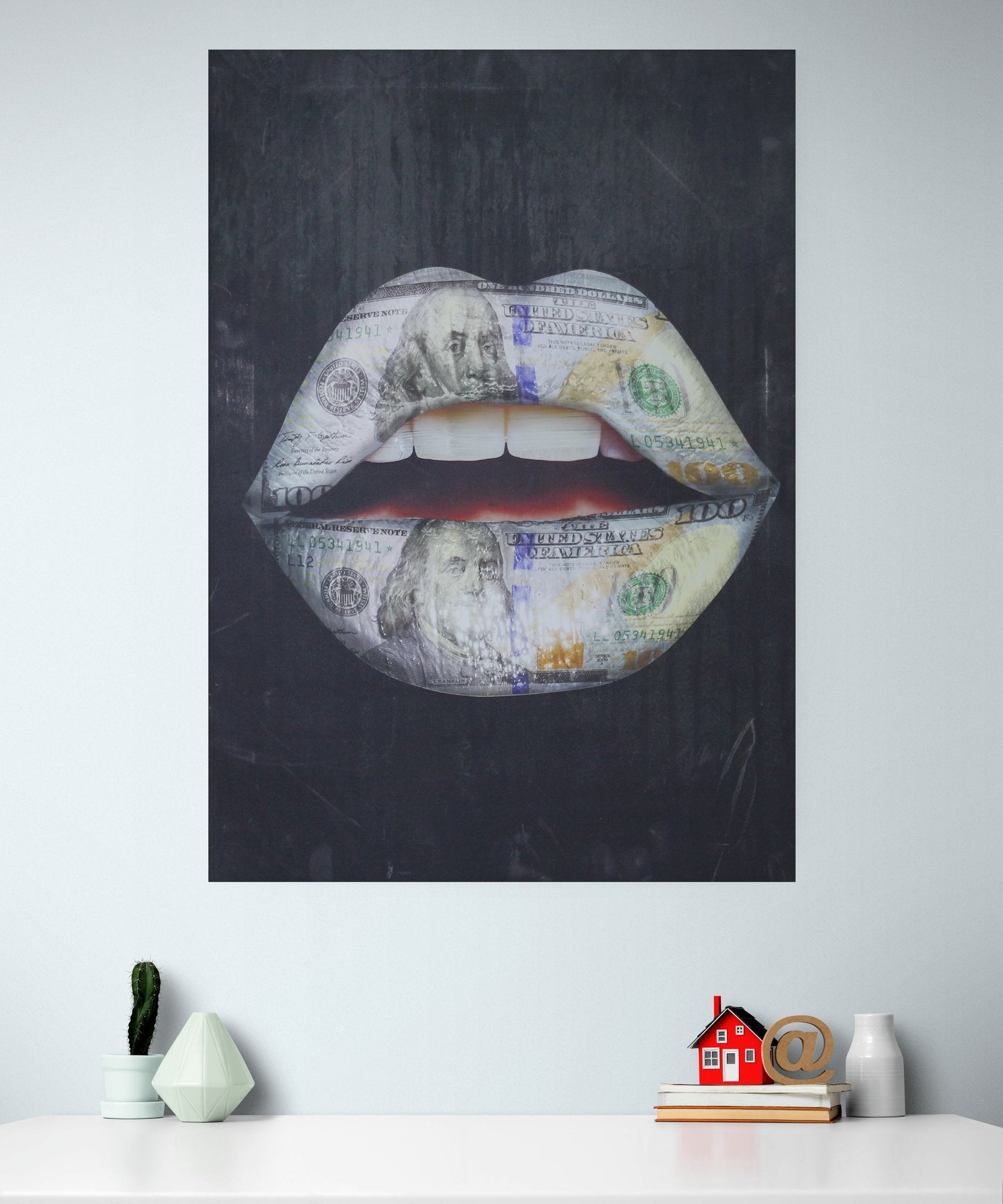 Abstract canvas print, money lips