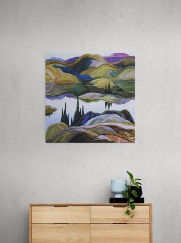Franklin Carmichael, group of seven, Mirror Lake. Canadian artist. canvas wall art, Canvas print, wall decor