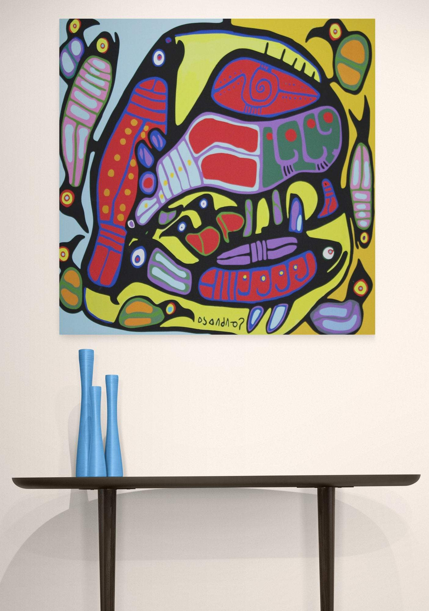 Norval Morrisseau, indian group of seven, Circle of life. Canadian artist. Canvas print, canvas wall art, wall decor, gift for him, for her