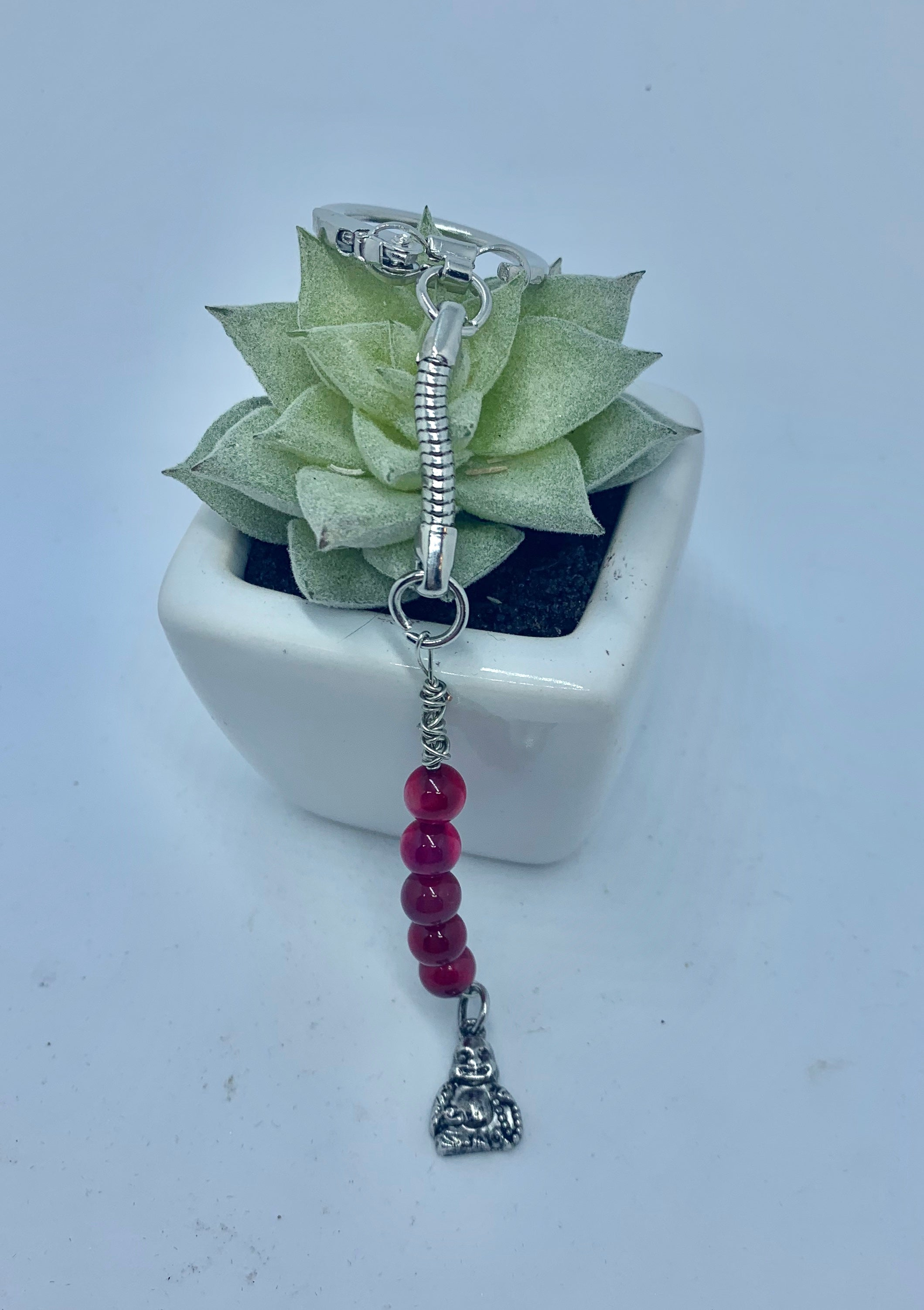 Cherry Red Agate with Buddha Keychain