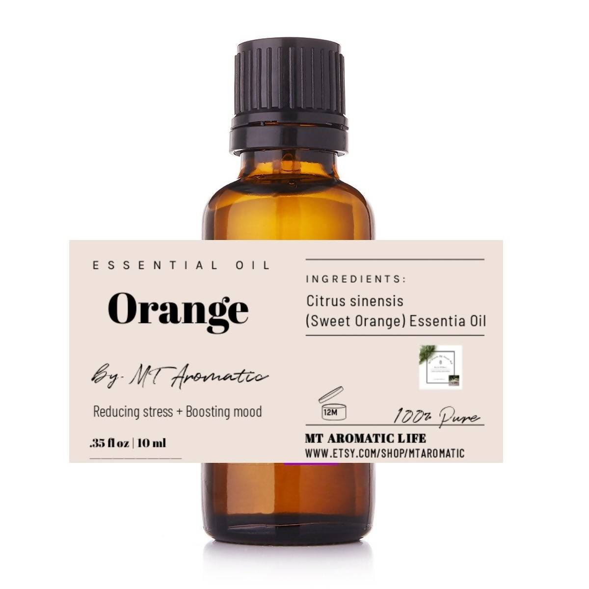 Sweet Orange Organic Essential Oil -100% Pure Orange Oil -Therapeutic grade, Mood booster, Relaxation -Aromatherapy, Natural Skincare