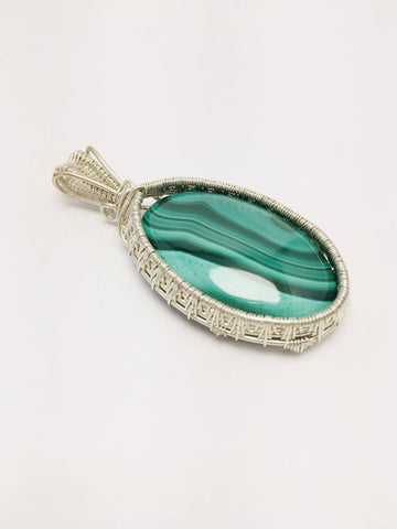 Malachite pendan wire wrapped with Argentium silver .935