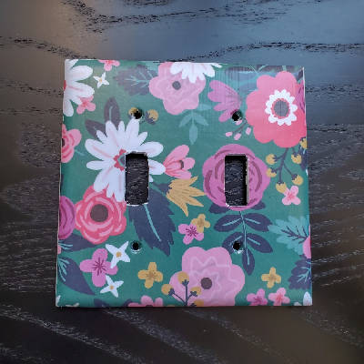 Fancy Handmade Light Switch Cover - Floral on Green