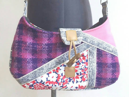 Patched Acid Wash and Pink Shoulderbag Handmade with Vintage Fabric