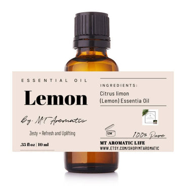 Lemon Organic Essential Oil - 100% Pure Lemon Oil -Therapeutic grade, refreshing, energizing, uplifting -Aromatherapy, Natural Skincare