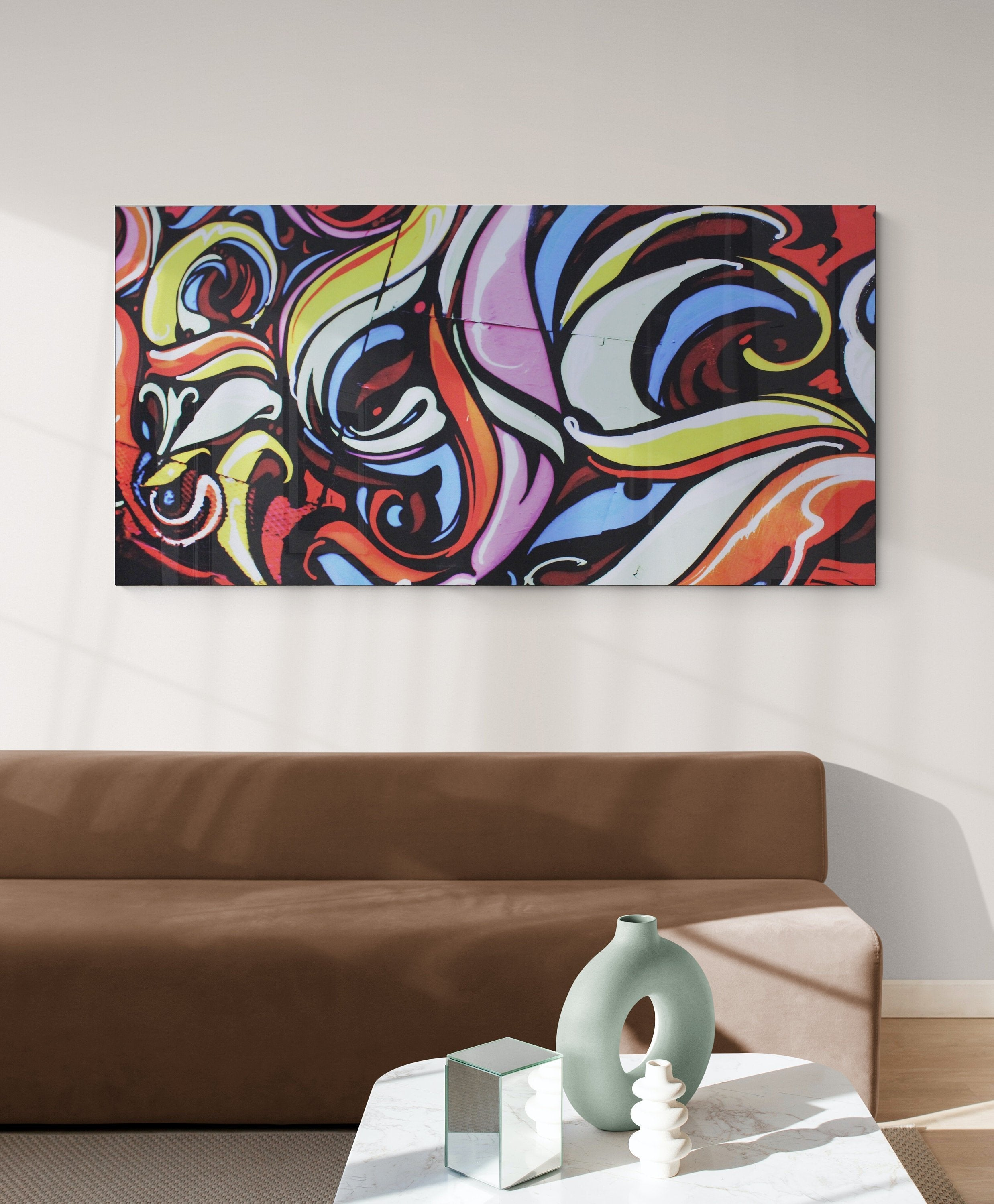 "Large wall art, canvas print,  ""Eclectic red mural"""