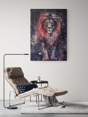 "Lion painting, ,Abstract canvas print, wall decor ""lion's courage"" framed. ready to hang"