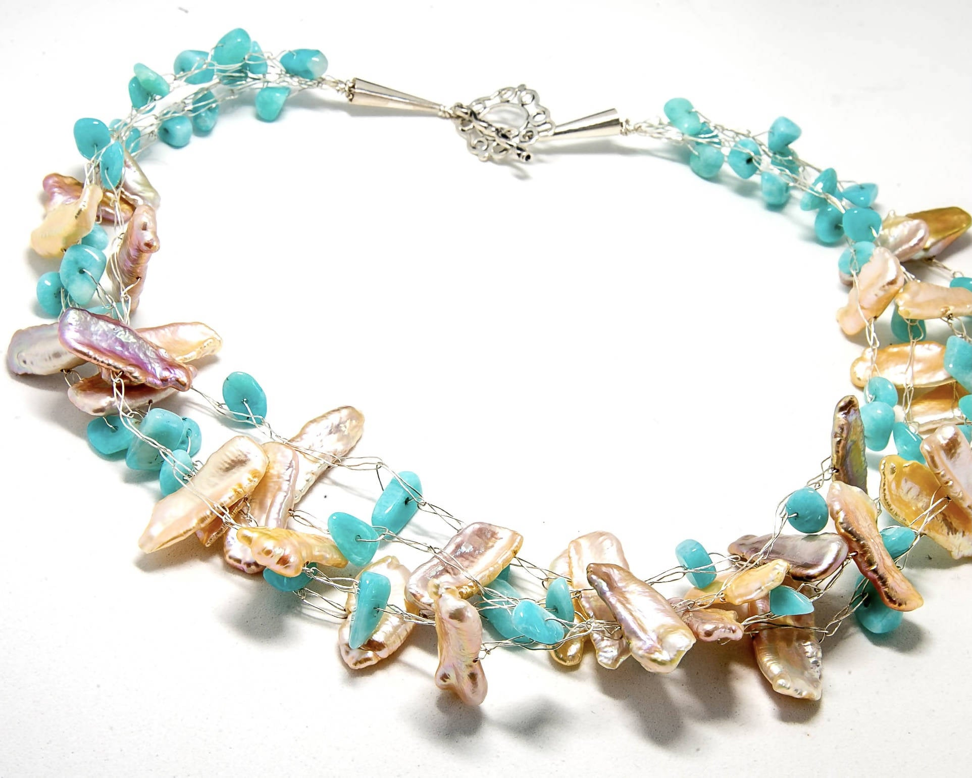 Biwa Fresh Water Pearls and Peruvian Opal Necklace