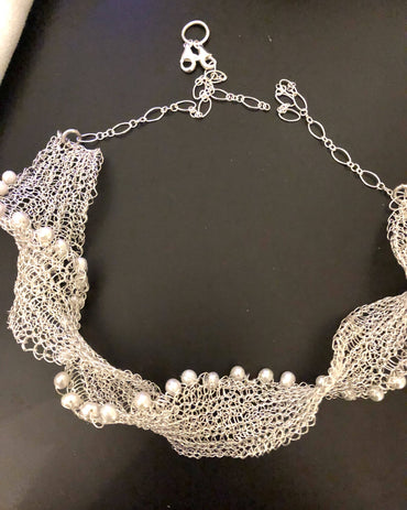 Woven Collar with Fresh Water Pearls Necklace