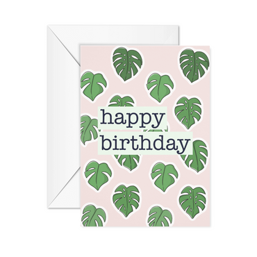 Monstera leaves happy birthday card