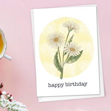 Daisy April birth flower birthday card