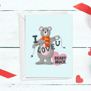 I love you beary much Anniversary Card