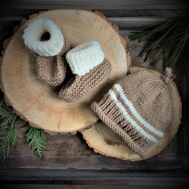 GRAMMY KNITS BEANIE AND BOOTIES - JUTE