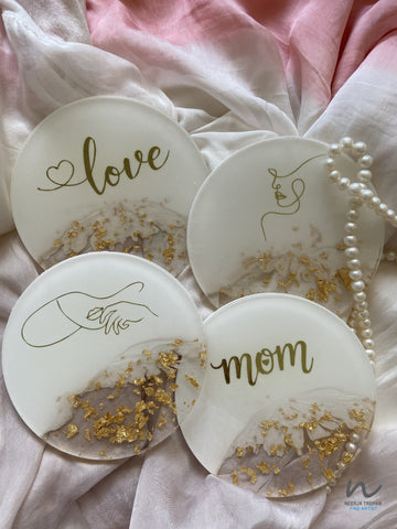 Gold and White Resin Coasters (set of 4)