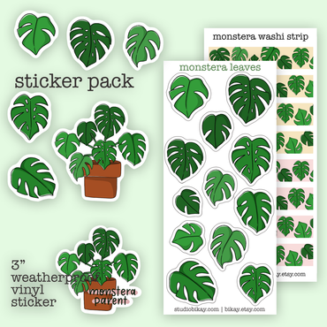 Monstera leaves Sticker Set