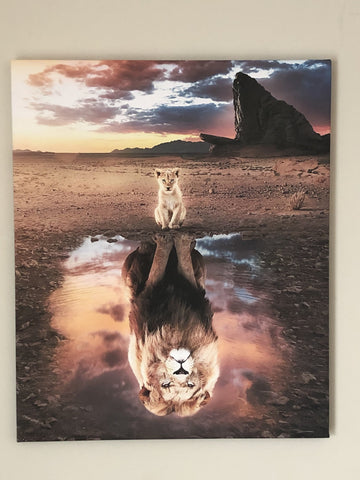 "Motivational, Canvas print ""Perception is everything"". Lion's reflection."