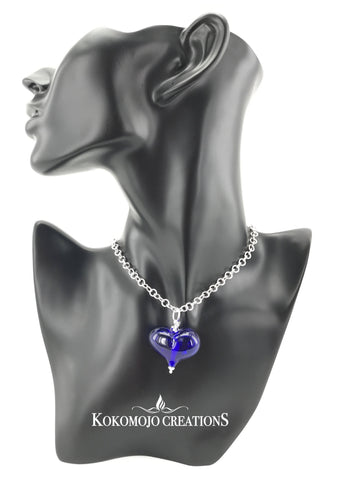 "24"" Sterling Silver Chainmaille Necklace With Blue Lampwork Blown Glass Heart Pendant"