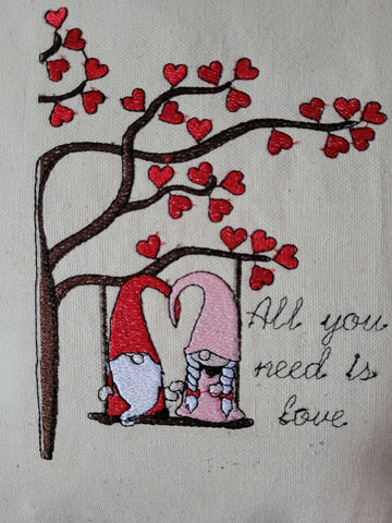 Gnome Couple Swinging in Tree Valentines Love Made in Ontario, Canada Pillow Romantic Gift