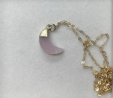 Gold Dipped Pink Druzy Agate Moon Pendant