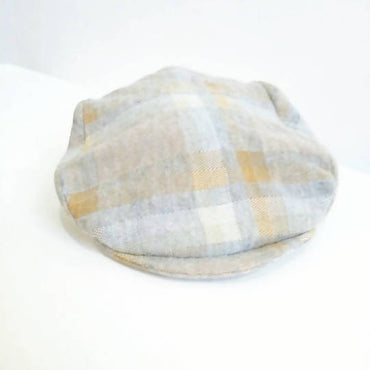 Mustard and Gray Plaid Newsboy Cap Handmade with Vintage Wool