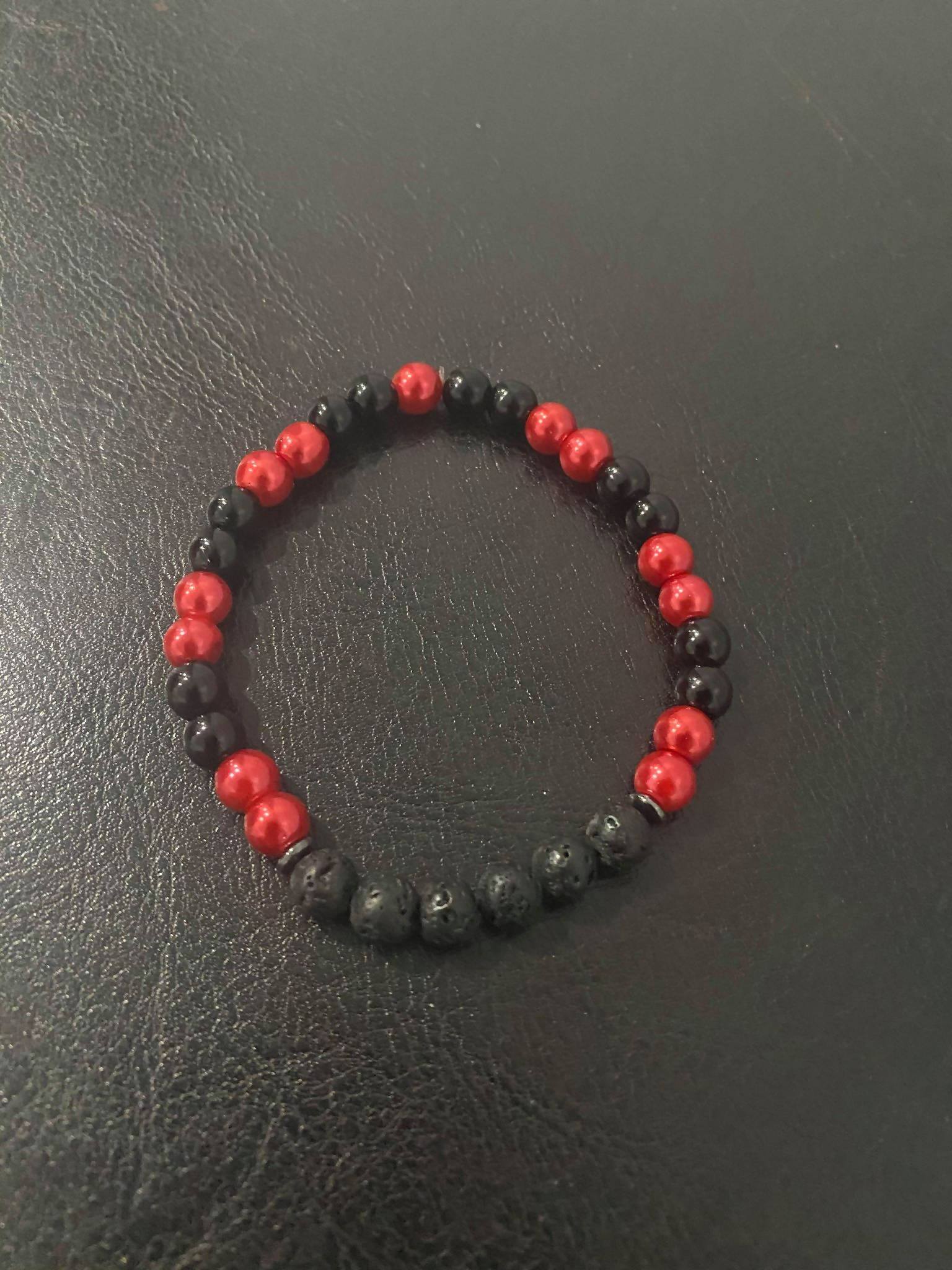 Red and Black Aromatherapy Bracelet