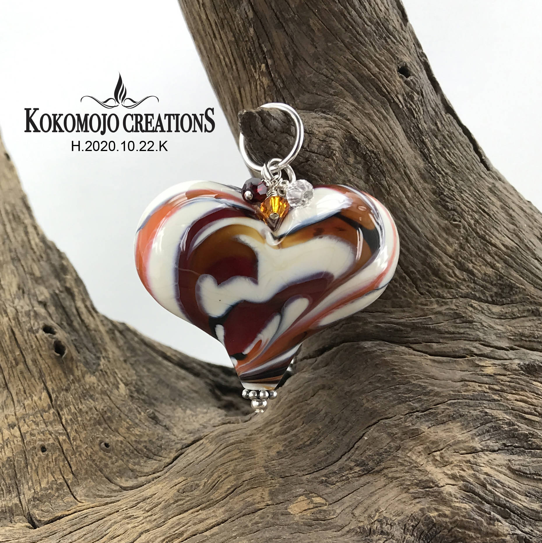 Handmade Lampwork Blown Glass and Sterling Silver Heart Pendant With Swarovski Crystals - H.2020.10.22.K