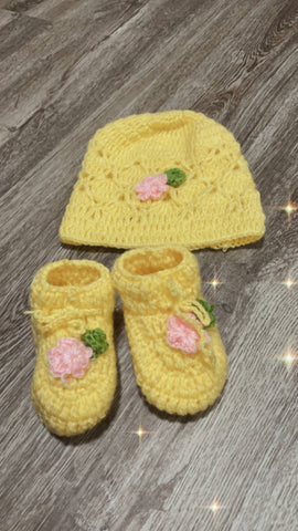 Yellow Cap and Baby Booties