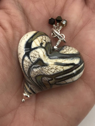 Handmade Lampwork Blown Glass and Sterling Silver Heart Pendant With Swarovski Crystals - H.2020.10.22.F