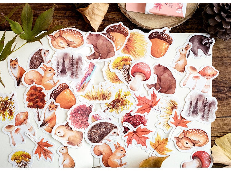 Autumn Squirrel Scrapbooking Stickers