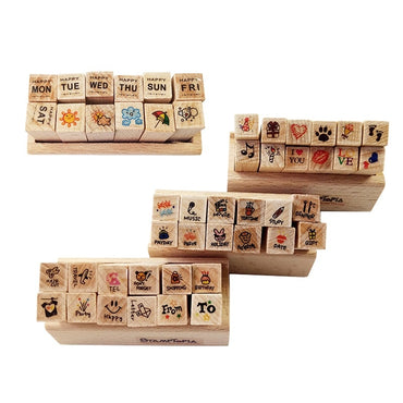 Happy Life Wooden Stamp (Set of 12)